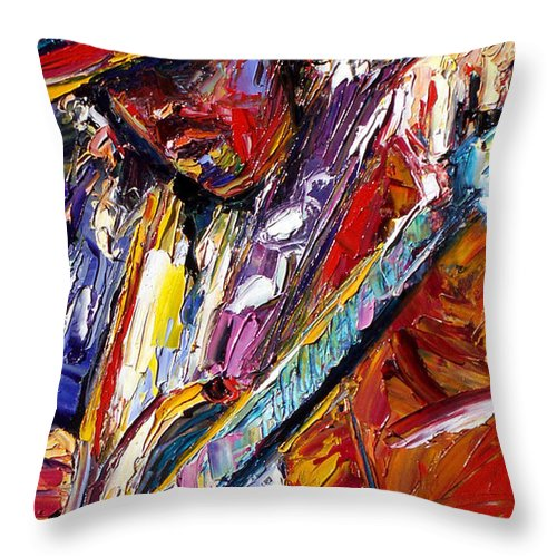Rock Throw Pillow featuring the painting Stevie Ray Vaughan Number One by Debra Hurd
