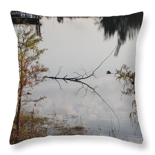 Water Throw Pillow featuring the photograph Stick In The Water by Rob Hans