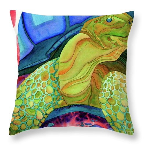 Tortoise Throw Pillow featuring the painting Sticking His Neck Out by Tracy L Teeter