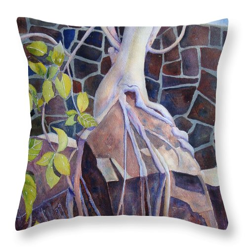 Tree Throw Pillow featuring the painting Sticks And Stones by Renee Chastant