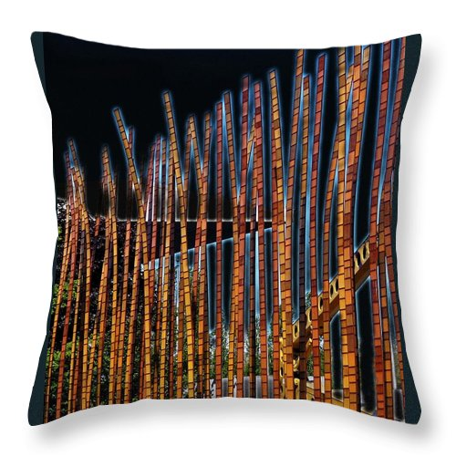 Poles Throw Pillow featuring the digital art Sticks by Kenna Westerman