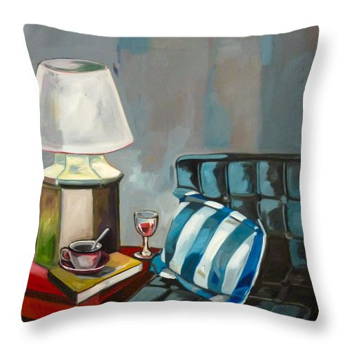 Stil Life Throw Pillow featuring the painting Stil Life by Carmen Stanescu Kutzelnig