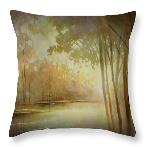 Landscape Painting Throw Pillow featuring the painting Still Haven by Michael Lang