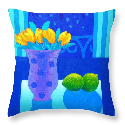 Acrylic Throw Pillow featuring the painting Still Life At Window IIi by John Nolan
