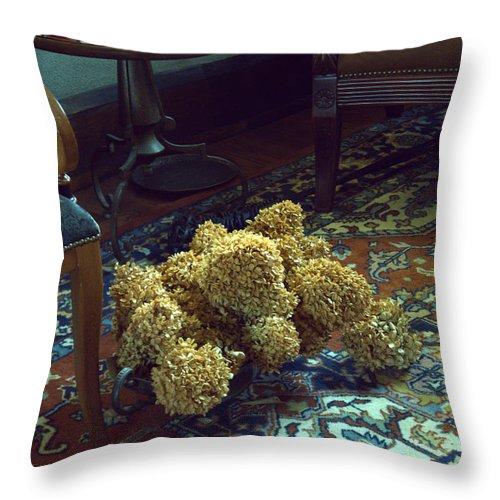 Dried Flowers Throw Pillow featuring the photograph Still Life Comfort by Kathy Barney