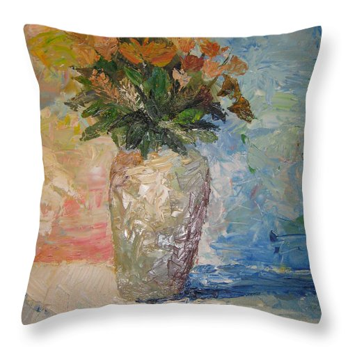 Still Life Vase Flowers Throw Pillow featuring the painting Still Life Flowers by Maria Kobalyan