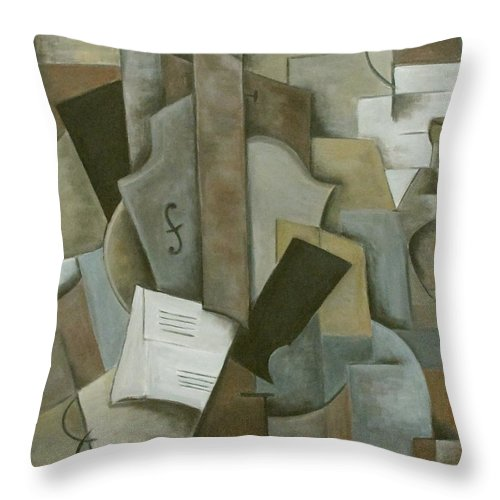 Still Life Throw Pillow featuring the painting Still Life Music And Bottle by Trish Toro