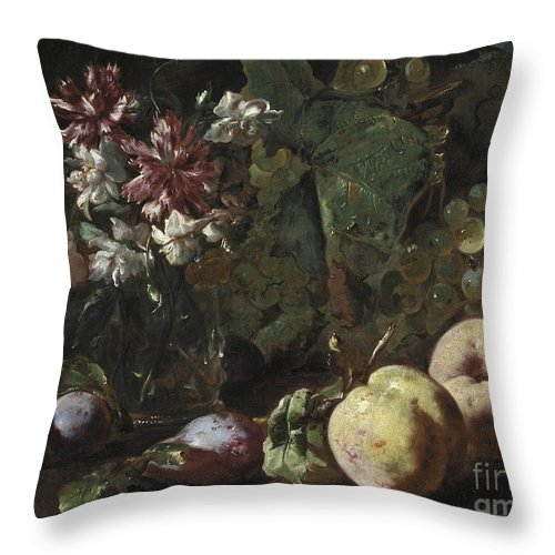 Fruit Throw Pillow featuring the painting Still Life Of Fruit And Flowers by Abraham Brueghel