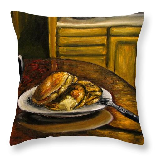 Still Life Painting Throw Pillow featuring the painting Still Life Pancakes And Coffee Painting by Natalja Picugina