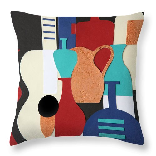 Still Life Throw Pillow featuring the mixed media Still Life Paper Collage Of Wine Glasses Bottles And Musical Instruments by Mal Bray