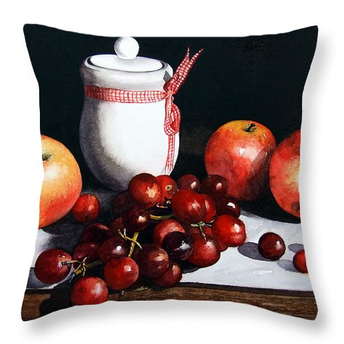 Still Life Throw Pillow featuring the painting Still Life 'preserve Pot And Fruit' by Paul Dene Marlor