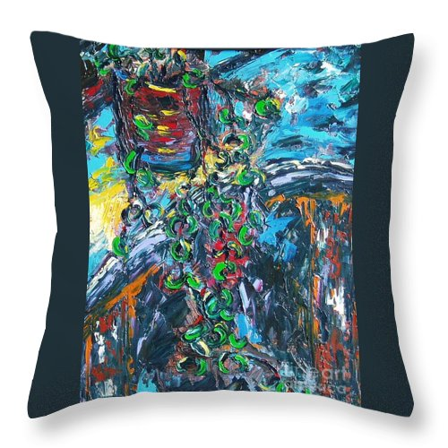 Sjkim Art Throw Pillow featuring the painting Abstract Still Life by Seon-Jeong Kim