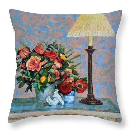 Flowers Throw Pillow featuring the painting Still Life With A Lamp by Iliyan Bozhanov