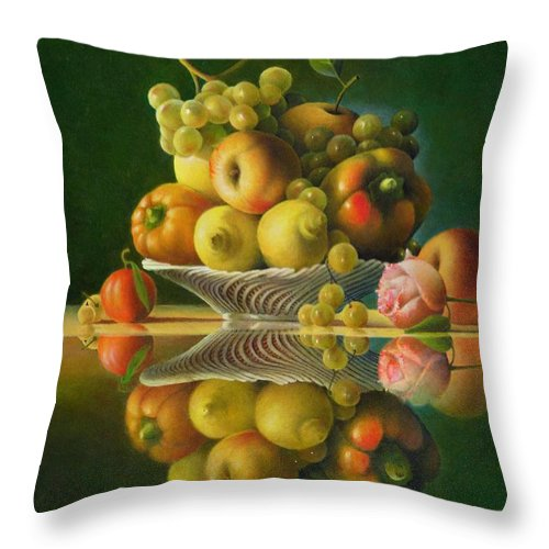 Still Life Throw Pillow featuring the painting Still Life with a Rose by Giuseppe Mariotti