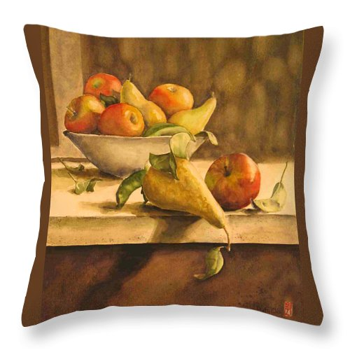 Still-life Throw Pillow featuring the painting Still-life With Apples And Pears by Piety Choi