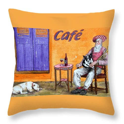 Music Throw Pillow featuring the painting Still Life With Dogs And Music by Gale Cochran-Smith