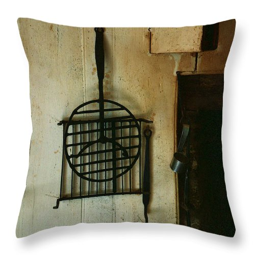 Still Life Throw Pillow featuring the painting Still Life With Hearth Tools by RC DeWinter