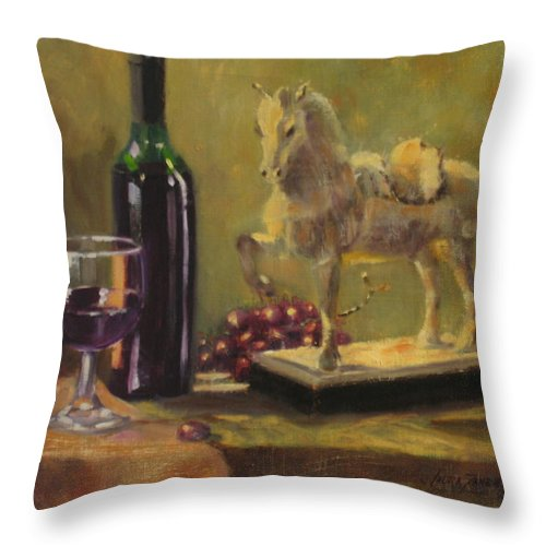 Oil Painting Throw Pillow featuring the painting Still Life With Horse by Laura Lee Zanghetti