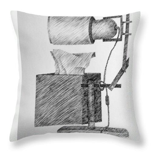 Still Life Throw Pillow featuring the drawing Still Life With Lamp And Tissues by Michelle Calkins