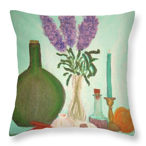 Lilac Throw Pillow featuring the painting Still Life With Lilac by Desiree Paquette