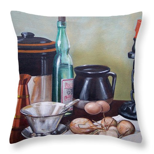 Still Life Throw Pillow featuring the painting Still Life With Onions And Eggs by Frank Wilson
