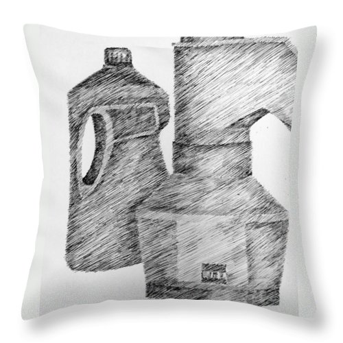 Still Life Throw Pillow featuring the drawing Still Life With Popcorn Maker And Laundry Soap Bottle by Michelle Calkins