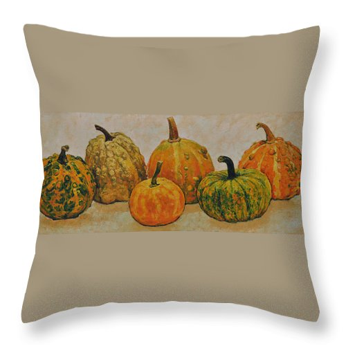 Still Life Throw Pillow featuring the painting Still Life With Pumpkins by Iliyan Bozhanov