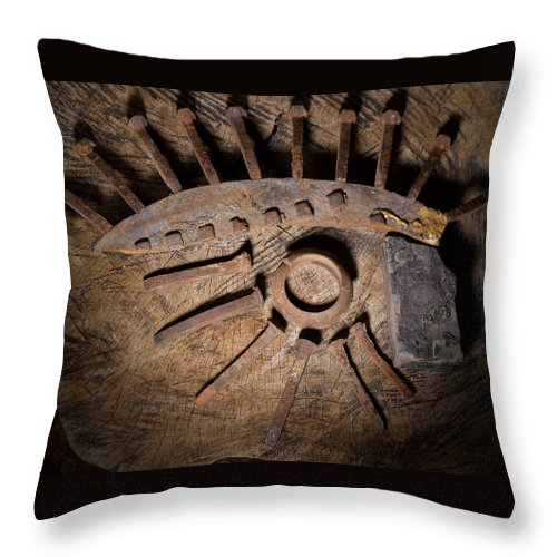 Still Life Throw Pillow featuring the photograph Still Life With Railroad Debris by Angus Hooper Iii