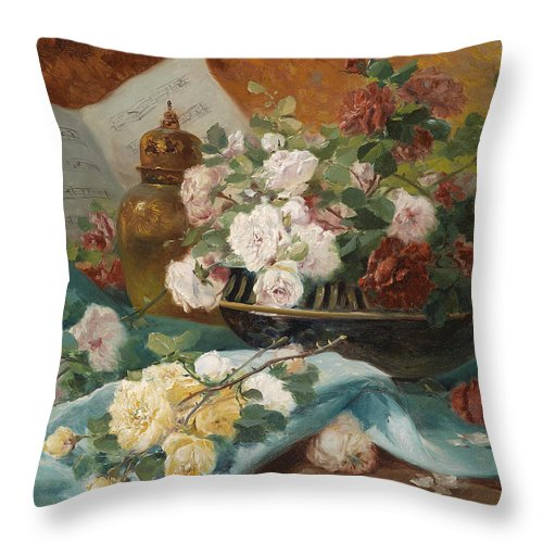 Eugene Henri Cauchois Throw Pillow featuring the painting Still Life With Roses In A Cup Ornamental Object And Score by Eugene Henri Cauchois