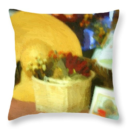 Basket Throw Pillow featuring the digital art Still Life With Straw Hat by RC DeWinter