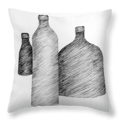 Still Life Throw Pillow featuring the drawing Still Life With Three Bottles by Michelle Calkins