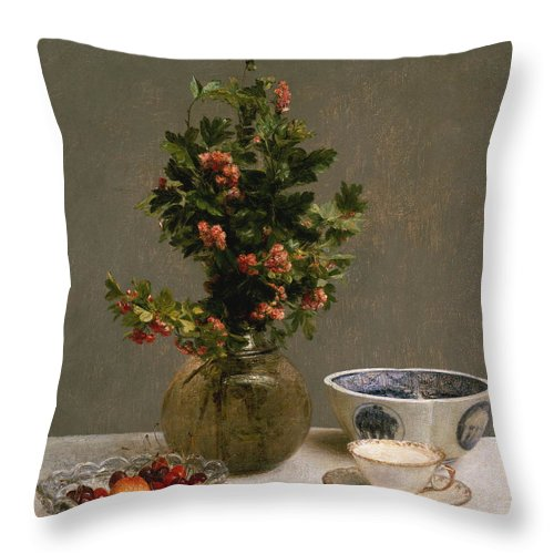 Life Throw Pillow featuring the painting Still Life With Vase Of Hawthorn, Bowl Of Cherries, Japanese Bowl, And Cup And Saucer 1872 by Henri Fantin Latour