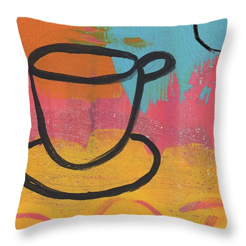 Coffee Throw Pillow featuring the painting Still by Linda Woods