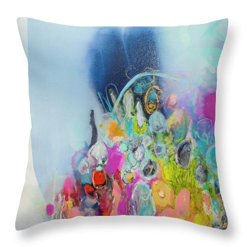 Abstract Throw Pillow featuring the painting Still Playing by Claire Desjardins