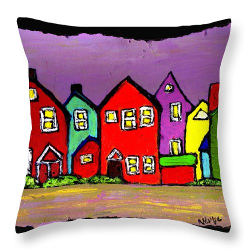Houses Throw Pillow featuring the painting Still Standing by Wayne Potrafka