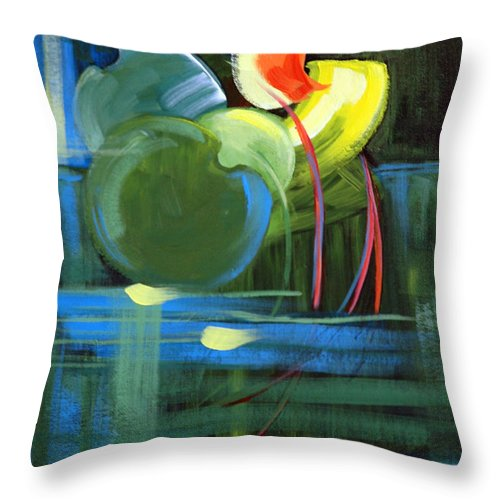 Abstract Throw Pillow featuring the painting Still Water by Suzanne McKee