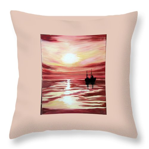 Seascape Throw Pillow featuring the painting Still Waters Run Deep by Marco Morales