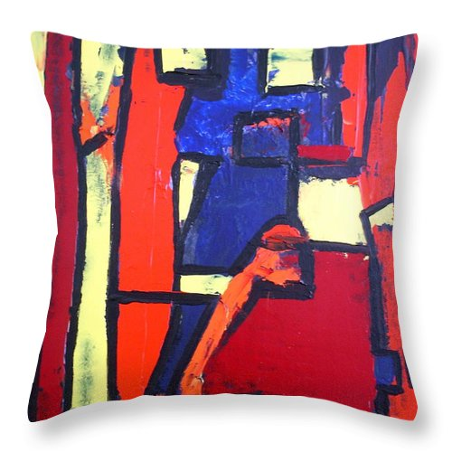 Abstract Paintings Throw Pillow featuring the painting Stillife by Albert Kutzelnig