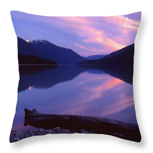 Abstract Throw Pillow featuring the photograph Stillness At Lillooet Lake by Lyle Crump