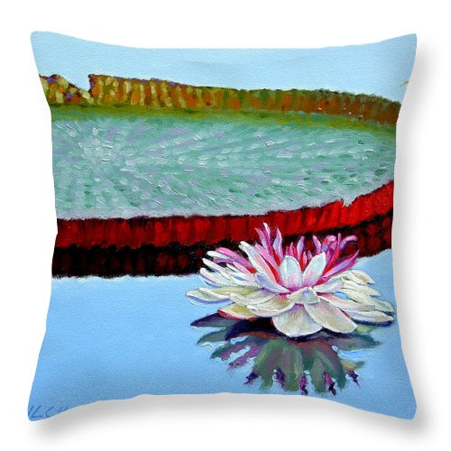 Water Lily Throw Pillow featuring the painting Stillness by John Lautermilch