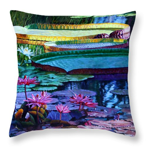 Garden Pond Throw Pillow featuring the painting Stillness Of Color And Light by John Lautermilch
