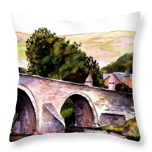 Stirling Bridge Throw Pillow featuring the painting Stirling Bridge by Marti Green