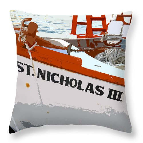 Sponge Boat Throw Pillow featuring the painting St.nicholas Three by David Lee Thompson