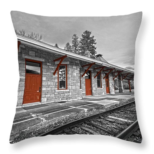 Trains Throw Pillow featuring the photograph Stockbridge Train Station by Andrea Swiedler