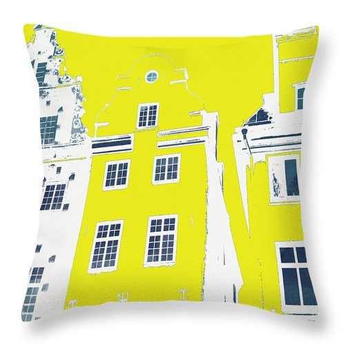 Stockholm Throw Pillow featuring the mixed media Stockholm Windows by Linda Woods