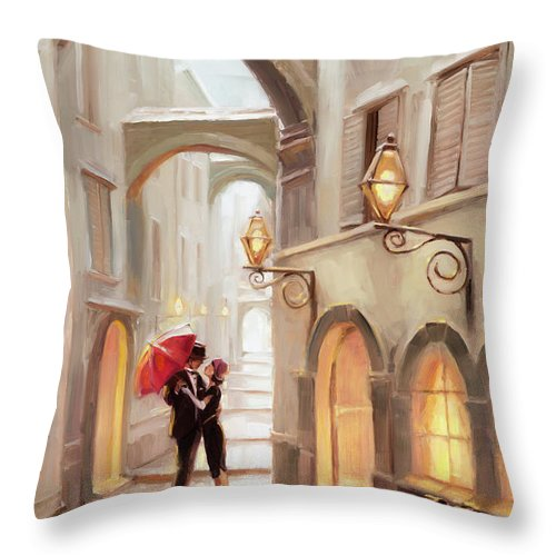 Love Throw Pillow featuring the painting Stolen Kiss by Steve Henderson