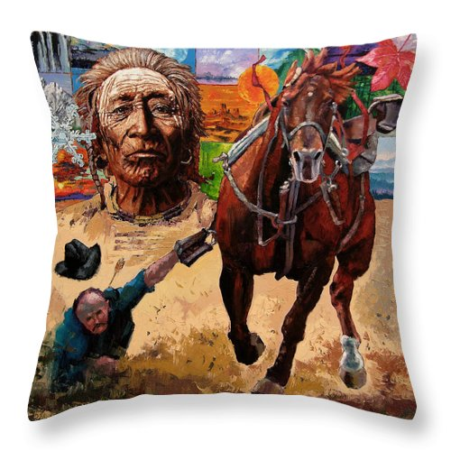 American Indian Throw Pillow featuring the painting Stolen Land by John Lautermilch