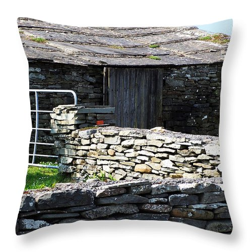 Irish Throw Pillow featuring the photograph Stone Barn Doolin Ireland by Teresa Mucha