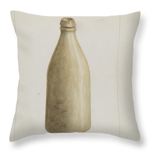 Throw Pillow featuring the drawing Stone Bottle by Frank Maurer
