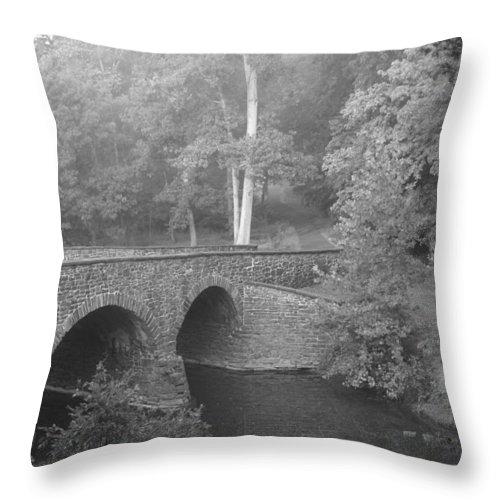 Bullrun Virginia Throw Pillow featuring the photograph Stone Bridge by Heidi Poulin